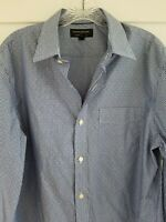 Banana Republic Sz Medium M No Iron Blue Button Front Long Sleeve Striped Shirt