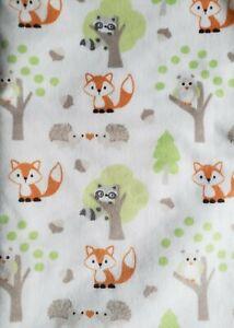 Blankets & Beyond Baby Blanket Fox Raccoon Owl Trees White Sherpa Hedgehog Ivory