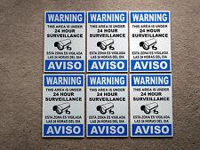 6 Security Video Surveillance Warning 24 Hr Coroplast Signs Spanish English