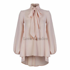 Chiffon Crepe Pussy Bow Tie Neck Dipped Hem Blouse Shirt Top 8 Colours New 8-20