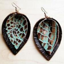 Leather Double Stacked Earrings-Brown and Turquoise Gator