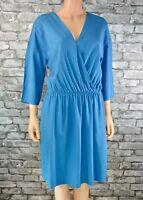 Women's Blue 3/4 Sleeved Wrap Look V-Neck Tunic Tea Shift Dress Size 12  - Eu 40