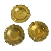 Vintage Solid Brass Round Ashtray Set of 3 Cigarette Cigar Made In India