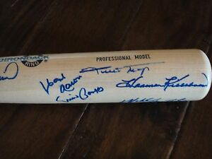 500 HOME RUN CLUB PSA/DNA SIGNED BAT BY 9 INCLUDING MAYS AARON BANKS & MORE!