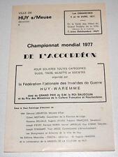HUY/MEUSE (BELGIQUE) Programme Championnat Mondial 1977 Accordéon WAREMME