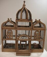 "Vintage TAJ MAHAL Wood & Wire Bird Cage ~ 24"" Large Victorian Style EX"