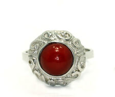 Sterling Silver Round Red Coral Filigree Frame Fashion Solitaire Ring Size 9.5
