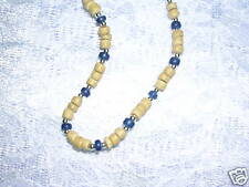 """NEW NATURAL SANDY TAN & NAVY BLUE COCO WOOD BEADS 16"""" CHOKER NECKLACE STRAND"""