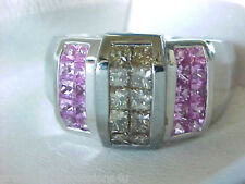 $3399 INCREDIBLE! 14K SHOPNBC PRINCESS CUT CHAMPAGNE DIAMOND PINK SAPPHIRE RING