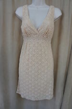 Studio M Dress Sz XS Blush Beige Sleeveless Eyelet V Neck Casual Party Summer