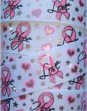 1.5 Breast Cancer Awareness Bling Grosgrain Ribbon 4 Hairbow Bow White