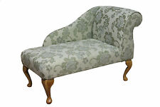 "41"" Small Chaise Longue Lounge Sofa Bench Seat Chair Green Fabric Queen Anne UK"