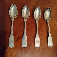 4 Sam Kirk Baltimore Coin Silver Fiddleback Spoon's marked 10.15