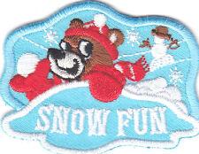 """SNOW FUN"" Iron On Patch Winter Sports Games Snowman Snowballs"