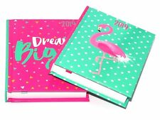 2019 A6 Day to Page Leather Organiser Hardback Office Desk Diary Flamingo