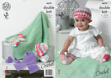 Crochet Pattern Baby Scarf Shoes Socks Hat and Blanket DK King Cole 4419