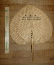 Vintage Heart Shaped Palm Bamboo Advertising Hand Held Fan The Boulevard Cleaner