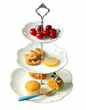 3-tier Porcelain Cake Stand Dessert Stand-Tea Party Serving Platter (3RW Silver)