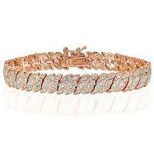 18K Rose Gold Tone 1.00ct Natural Diamond Leaf Tennis Tennis Bracelet in Brass
