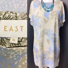 EAST UK16 100% Silk Shift Blue Grey Floral Knee Length Dress Short Sleeve