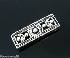 20 Silver Tone 3Holes Rectangle Spacers Beads 26x9mm