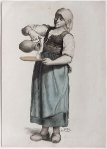Original dated 1905 lady pouring water into glass, by P. Gusel, signed