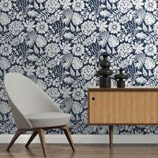 Navy Blue & White Bold Monstera, Palm, Floral Wallpaper - 10m Roll
