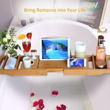 Bathtub Caddy Bamboo Bath Tub Rack Tray Bathroom Cloth Book/Pad/Tablet Holder US