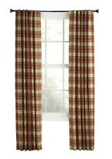 Style Selections Bernard Plaid 84-in Red Green Single Back Tab Curtain Panel
