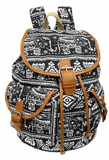Large Canvas Backpack Leather Trim Drawstring Closure Padded Strap -ELEPHANTS
