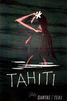 """Vintage Illustrated Travel Poster CANVAS PRINT Tahiti 24""""X16"""""""