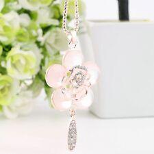 Rhinestone Women Flower Gifts Rose Jewelry Pendant Necklace Sweater Chain