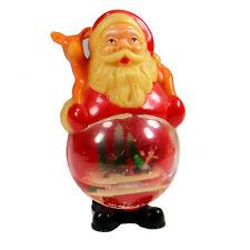 "Vintage Santa Claus Snow Globe Christmas Deer Sleigh Hard Plastic 6"" Tall"