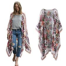 Women Chiffon Kimono Cardigan Asymmetric Boho Loose Beach Bikini Cover Up E0E5