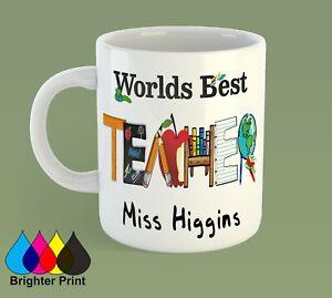 Personalised Teacher Mug Cup Gift With Custom Name's High Quality +Gift Box
