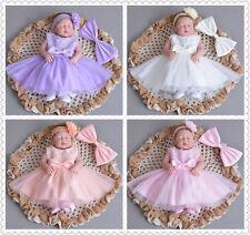 5 Colour Elegante Encaje BAUTIZO Vestido Moño Bata Bautismo de bebé
