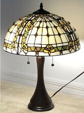 """Tiffany Style Stained Glass Lamp """"Fleur De Lis"""" w/ Metal Base - FREE SHIP IN USA"""
