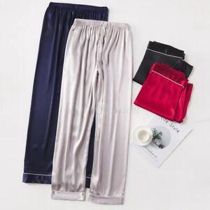 Men Silky Satin Pajama Pants Anti-Static Long Pettipants Bottoms PJ Loungewear