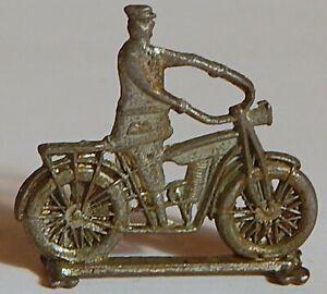VINT 1910 CRACKER JACK MOTORCYCLIST ON MOTORCYCLE STANDUP SILVERED