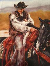 "Happy Trails Western Cowboy & Dog Quilt Square Cotton 11 1/2"" x 10 1/2"" BIN"