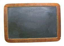 """Antique 19th C School Childrens Hand-Held Slate Chalk Board Two-Sided 13"""" x 9"""""""