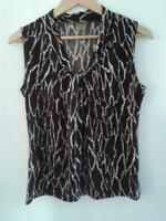 Anne Klein Womens Sleeveless Top Animal Print Brown and Beige Size Medium