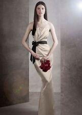 Vera Wang satin dress grosgrain sash Champagne size 12