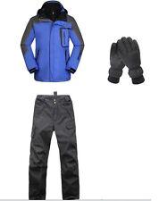 10K Men Blue Ski Snowboard Winter Waterproof Jacket+Pants+Gloves S M L XL XXL