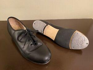 Capezio Tele Tone Tap Shoes - Womens Black Size 8.5 - Lace Up Leather CG55