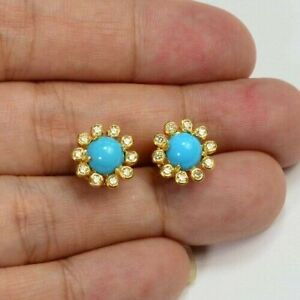Halo 1.30 CT Turquoise & CZ Bezel Earrings 18K Yellow Gold Over 925 Silver