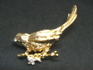 Stunning Gold Tone Bird on a Limb Brooch with Clear Rhinestone Accent