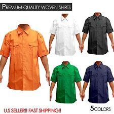 MenS Work Shirts PLAIN WOVEN SHIRT Button Down DOUBLE POCKET SHIRTS M-3XL