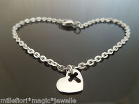 """3mm Stainless Steel Bracelet Or Ankle Chain Anklet Heart Cross Charm 7"""" 8"""" 9"""" 10"""