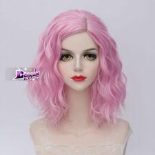 35 CM Fashion Lolita Women Pink Medium Curly Synthetic Hair Cosplay Wig
